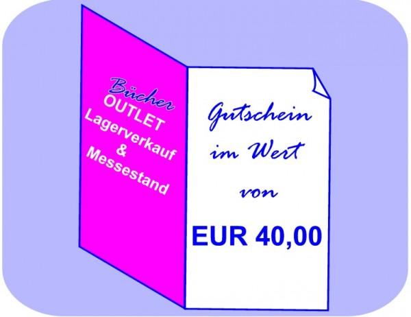 Geschenk-Gutschein 40 EUR für Bücher Outlet Lagerverkauf & Messestand