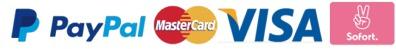 Einfache Zahlung per PayPal, Kreditkarte und Sofortüberweisung